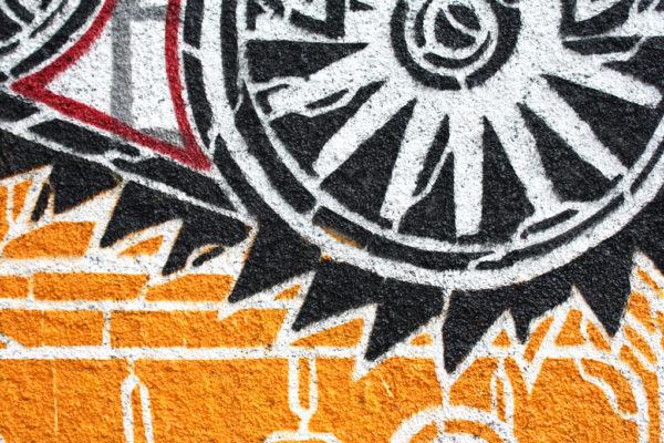 Detalle del mural de Mcity